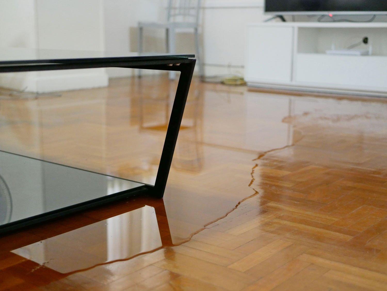 Flooded hardwood floor