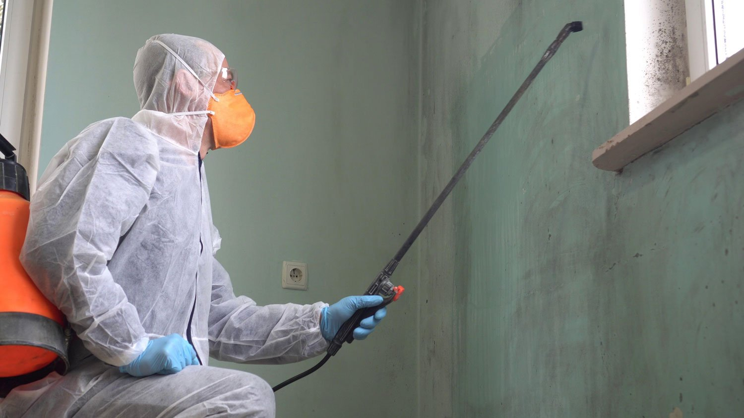 Man in PPE removing mould