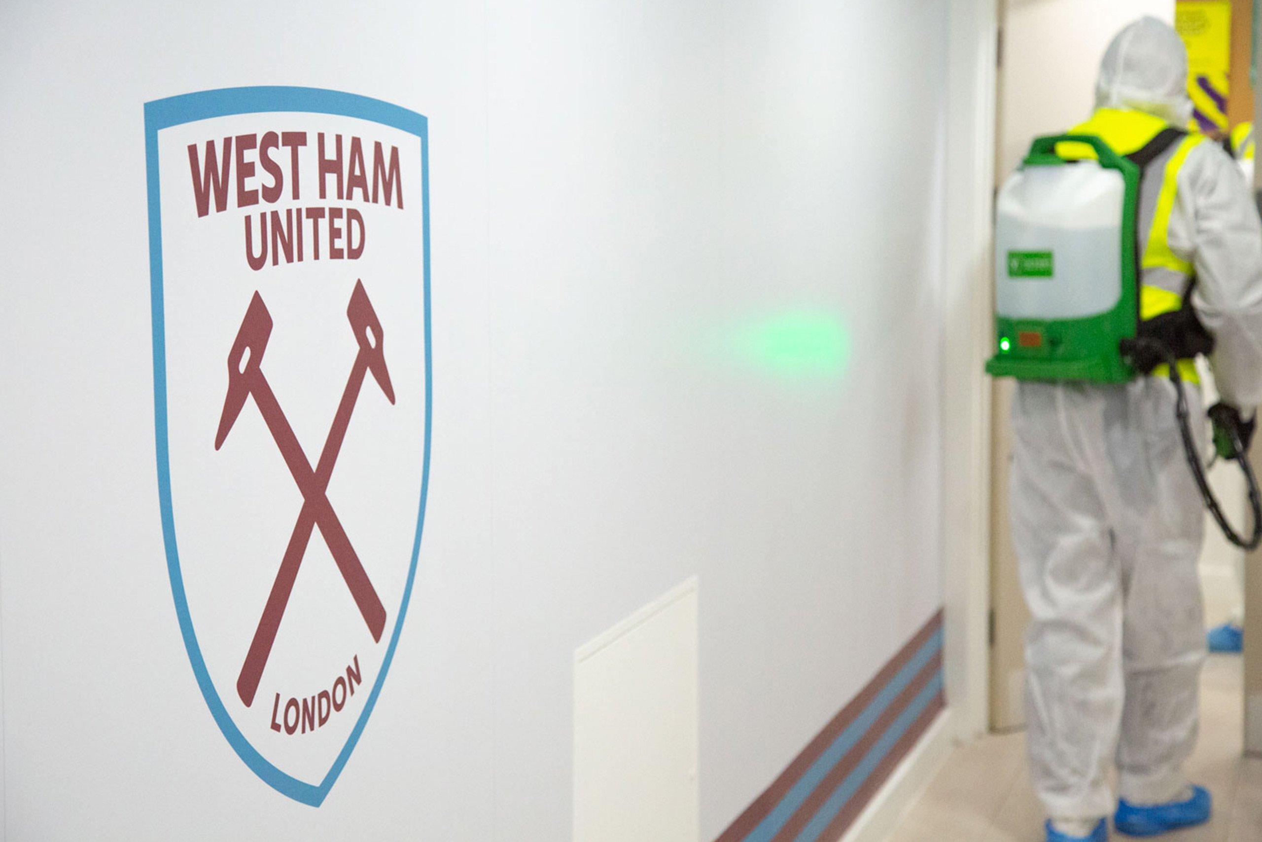 Hallway at West Ham FC with cleaner