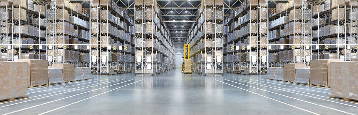 Large warehouse with forklift