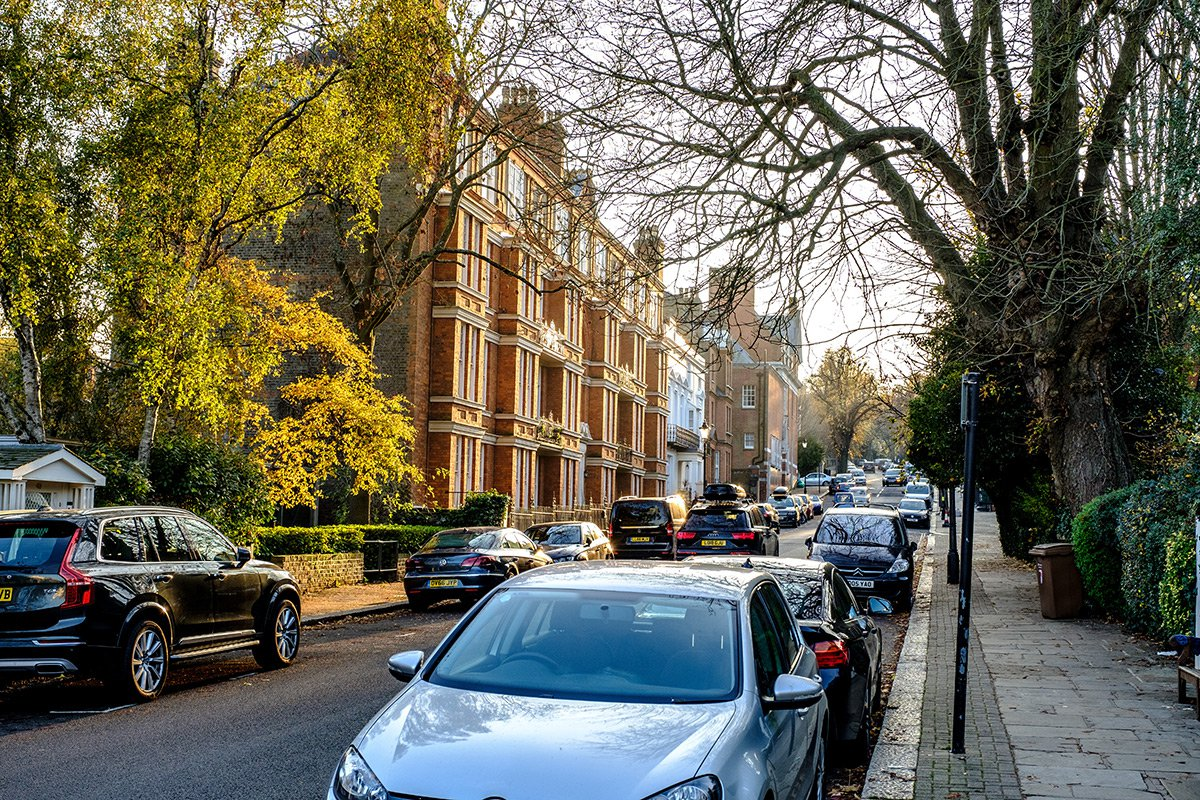 Cars parked along the side of London road